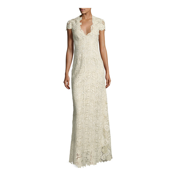 ELIE TAHARI Cap-Sleeve Metallic Lace Column Gown - ONLYATNM Only Here. Only Ours. Exclusively for You. Elie...