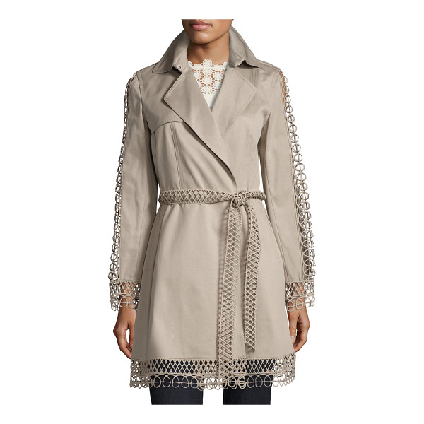 """ELIE TAHARI Kathy Lace-Trimmed Trench Coat - Kathy"""" cotton trench coat by Elie Tahari features open-cord..."""