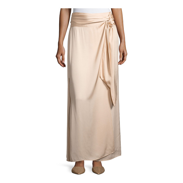 "ELIZABETH AND JAMES Almeria Wrap-Tie Maxi Skirt W/ Slit - Elizabeth and James ""Almeria"" satin skirt. Rise sits..."