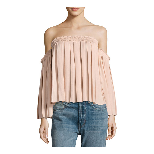 "ELIZABETH AND JAMES Emelyn Off-the-Shoulder Pleated Top - Elizabeth and James ""Emelyn"" top with allover..."