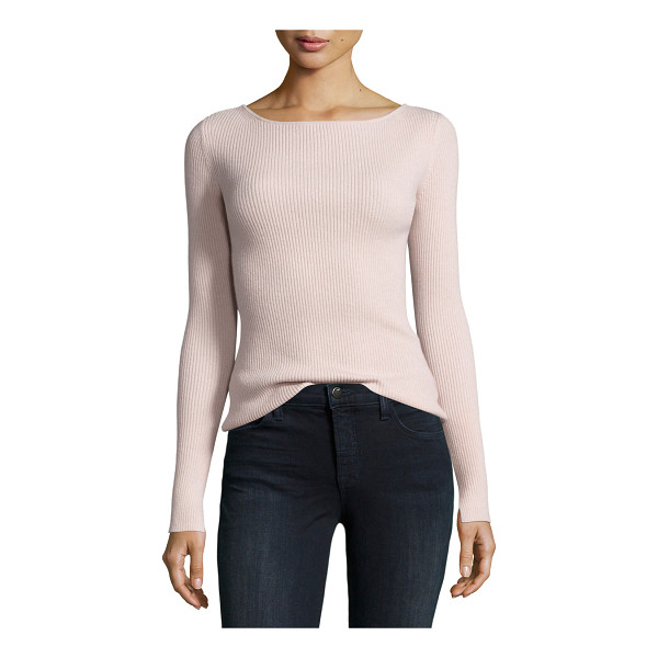 "ELIZABETH AND JAMES Fay Long-Sleeve Ribbed Tie-Back Top - Elizabeth and James ""Fay"" ribbed top in wool blend. Round..."