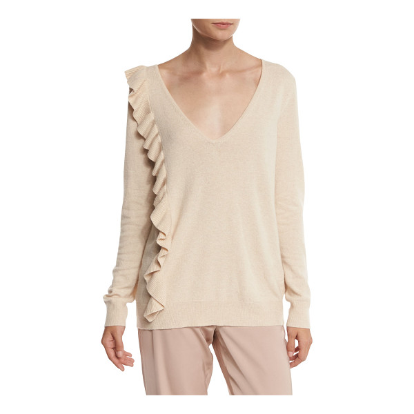 "ELIZABETH AND JAMES Odell V-Neck Ruffle-Trim Sweater - Elizabeth and James ""Odell"" lightweight in wool blend...."