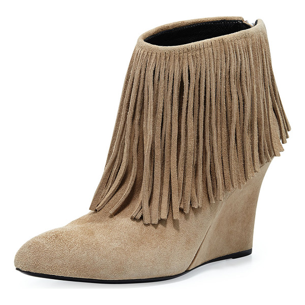 "ELYSEWALKER LOS ANGELES Fringed Suede Ankle Boot - elysewalker los angeles suede ankle boot. 3.5"" covered"