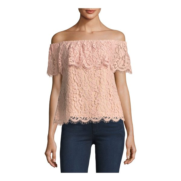 ENGLISH FACTORY Off-the-Shoulder Lace Top - English Factory top in floral lace. Elasticized...