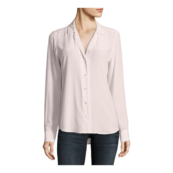 "EQUIPMENT Adalyn Silk Long-Sleeve Blouse - Equipment ""Adalyn"" solid georgette blouse. Approx. length:..."