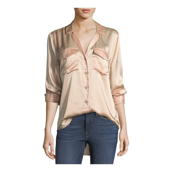 """EQUIPMENT Ansley Button-Front Long-Sleeve Silk Charmeuse Blouse - Equipment """"Ansley"""" dotted charmeuse blouse. Notched collar;..."""