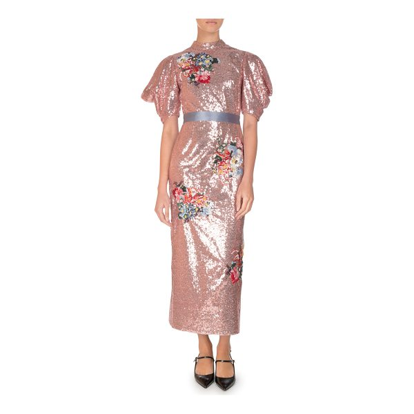 "ERDEM Emery Floral Sequined Midi Dress - Erdem ""Emery"" fully sequined dress with floral embroidery...."