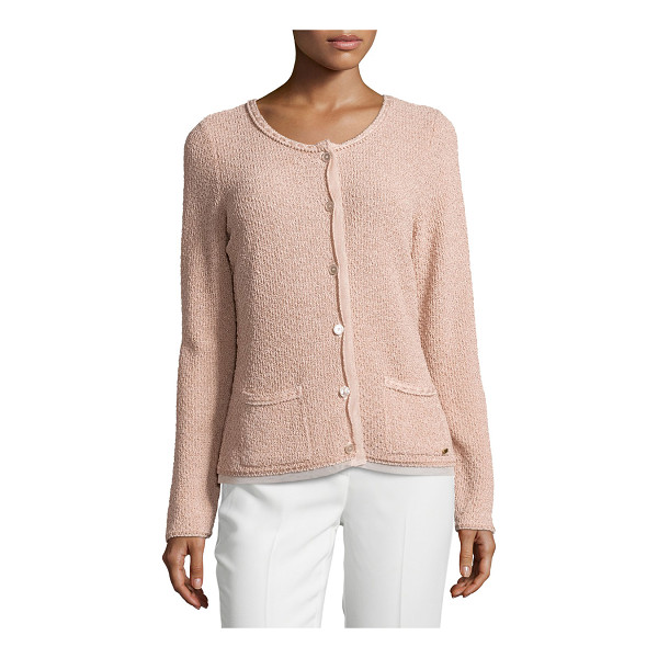 ESCADA Round-neck long-sleeve metallic cardigan - Escada metallic knit cardigan with sheer trim. Round...