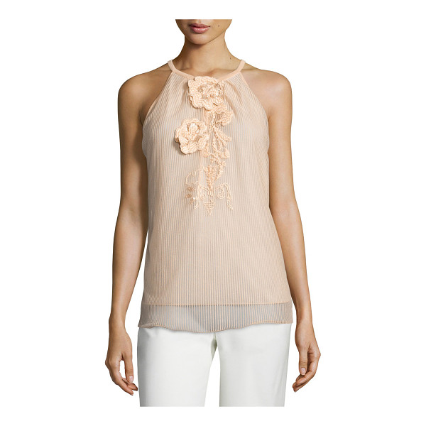 ESCADA Sleeveless floral-appliqué top - Escada tonal-striped overlay top with floral appliqu. Round...