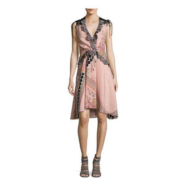 ETRO Sleeveless Lace-Trim Paisley High-Low Dress - Etro dress featuring mixed paisley and polka-dot prints....