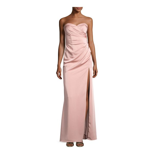 FAVIANA Strapless Stretch-Satin Sweetheart Column Gown - Faviana evening gown in stretch satin. Strapless sweetheart...