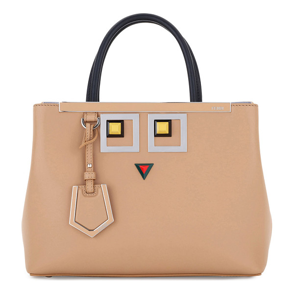 FENDI 2Jours Petite Faces Leather Tote Bag - Fendi smooth calfskin satchel bag with silvertone hardware....