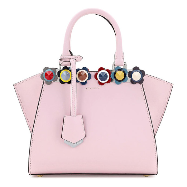 FENDI 3Jours Mini Floral-Stud Tote Bag - Fendi calf leather tote bag with floral ABS studs. Rolled