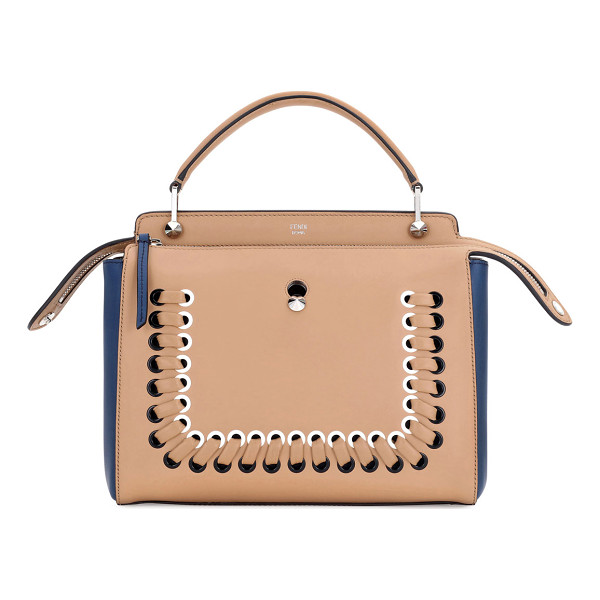 FENDI Dotcom Medium Colorblock Whipstitch Satchel Bag - Fendi colorblock calfskin and lambskin satchel bag.