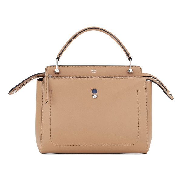FENDI Dotcom Medium Leather Satchel Bag - Fendi two-tone calf leather satchel bag. Flat top handle,...