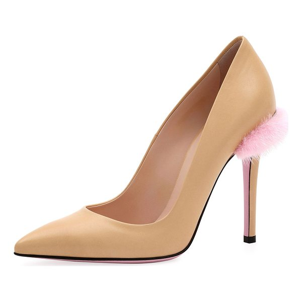 FENDI Duo 95mm Pump with Fur Trim - Fendi smooth leather pump with dyed mink (Denmark) fur...