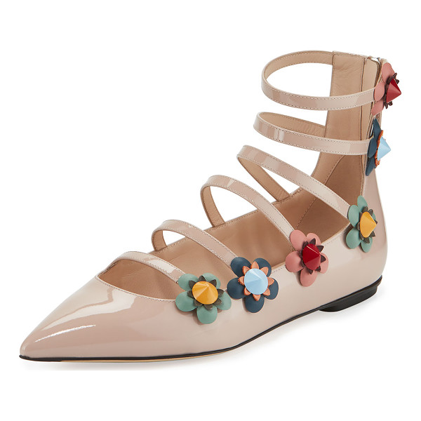 FENDI Flowerland Strappy Skimmer Flat - Fendi patent leather skimmer flat. Floral appliqu with ABS