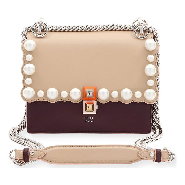 FENDI Kan I Small Pearly-Studded Leather Shoulder Bag - Fendi leather shoulder bag with scalloped edges and...