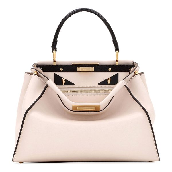 FENDI Monster Peekaboo Regular Satchel Bag - Fendi satchel bag in napa leather with golden hardware....