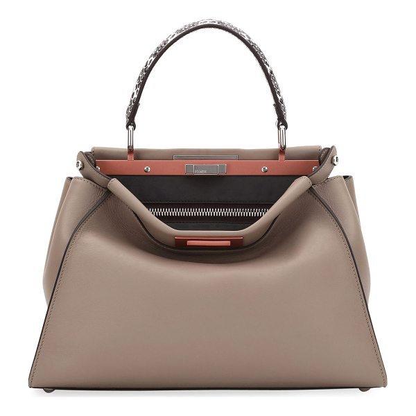 FENDI Peekaboo Medium Leather Snake-Handle Satchel Bag - Fendi napa leather satchel bag. Padded snakeskin top...