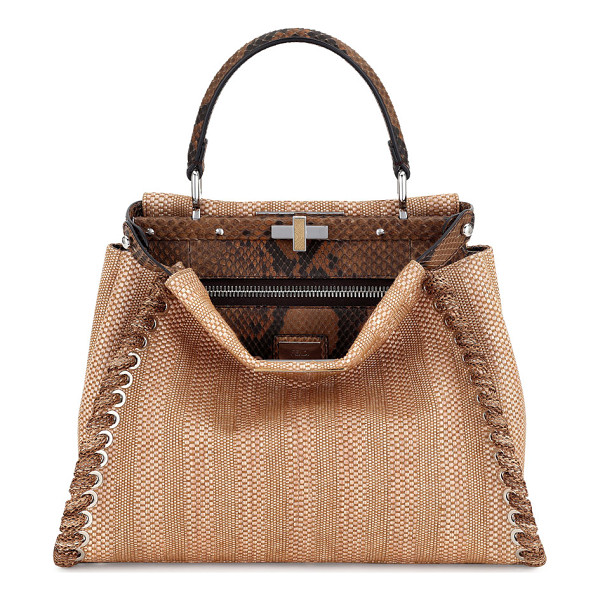 FENDI Peekaboo Medium Straw & Python Whipstitch Satchel Bag - Fendi straw and python satchel bag with whipstitch trim.