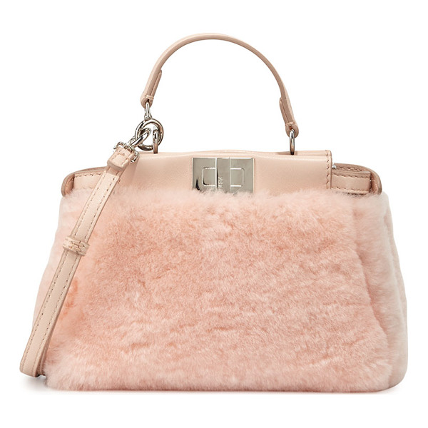 FENDI Peekaboo Micro Shearling Satchel Bag - Fendi dyed sheep shearling (Spain) fur satchel bag with...