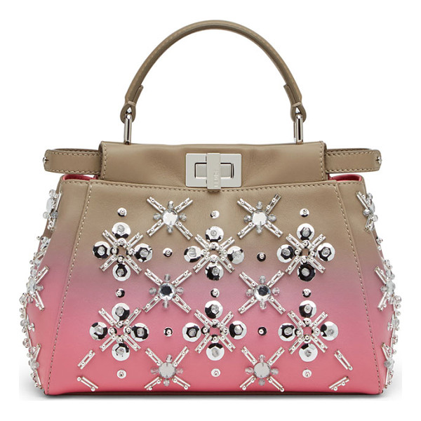 FENDI Peekaboo Mini Crystal Satchel Bag - Fendi mini bag in ombr lamb leather with snowflake crystals
