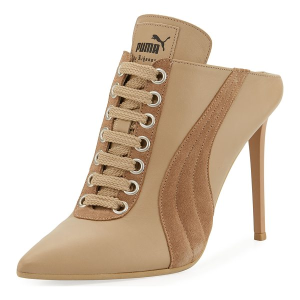 FENTY PUMA BY RIHANNA Lace-Up Leather Mule Sneaker Pump - Fenty Puma by Rihanna leather mule pump with suede trim....