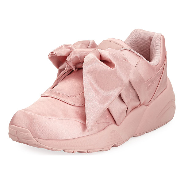 FENTY PUMA BY RIHANNA Trinomic Knotted Bow Satin Sneaker - Fenty Puma by Rihanna satin sneaker. Flat rubber heel....