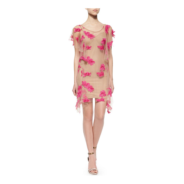 "FOR LOVE & LEMONS Orchid short-sleeve mini dress - - For Love Lemons ""Orchid"" mesh mini dress with appliques...."