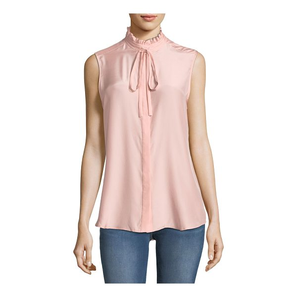 FRAME Ruffle-Neck Sleeveless Silk Blouse - EXCLUSIVELY AT NEIMAN MARCUS FRAME silk blouse. High,...