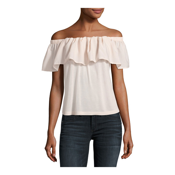 """FRENCH CONNECTION Polly Plains Off-the-Shoulder Blouse - French Connection """"Polly Plains"""" gauze top with ruffle..."""