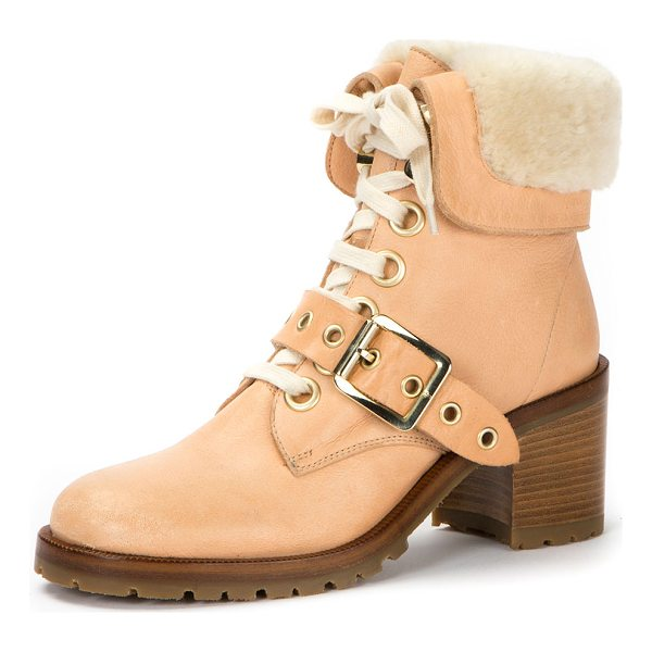 FRYE Kay Shearling Lace-Up Boot - Frye leather boot with dyed sheep shearling (Uruguay) top...