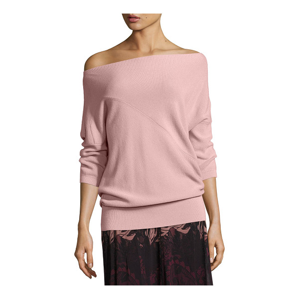 FUZZI 3/4-Sleeve Off-the-Shoulder Wool Sweater - Fuzzi ribbed virgin wool sweater features asymmetric...