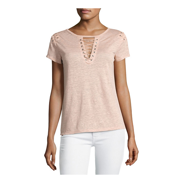 "GENERATION LOVE Hugo Lace-Up Linen Top - Generation Love ""Hugo"" heathered linen top. Lace-up front..."
