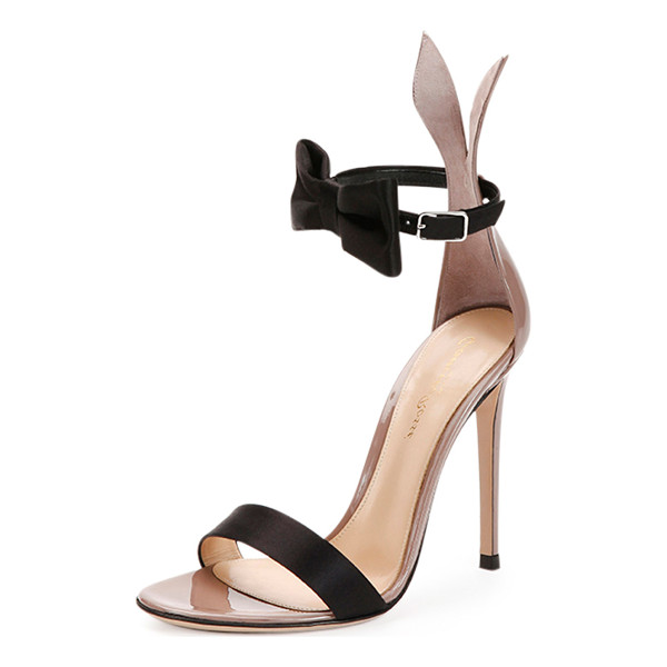 "GIANVITO ROSSI Bow-tie ankle-strap bunny sandal - Gianvito Rossi patent leather sandal. 4"" covered stiletto..."