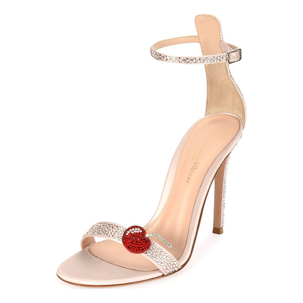 "GIANVITO ROSSI Cherry Portofino Ankle-Wrap 105mm Sandal - Gianvito Rossi crystal-embellished satin sandal. 4.1""..."