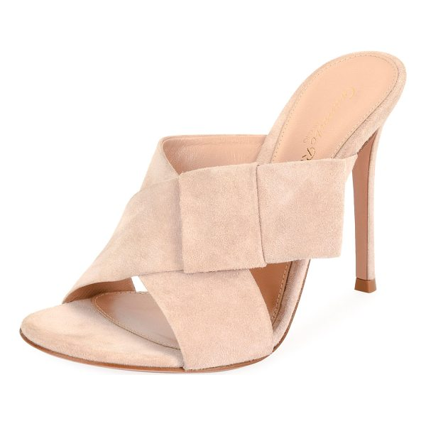 """GIANVITO ROSSI Crisscross Suede 105mm Mule - Gianvito Rossi suede mule with bow at side. 4.3"""" covered..."""