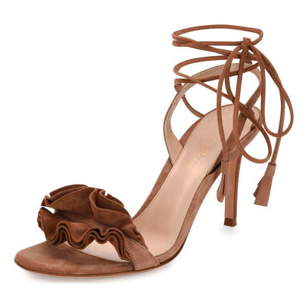 GIANVITO ROSSI Flora Ruffled Suede Lace-Up 85mm Sandal - Gianvito Rossi suede sandal. Available in multiple colors.