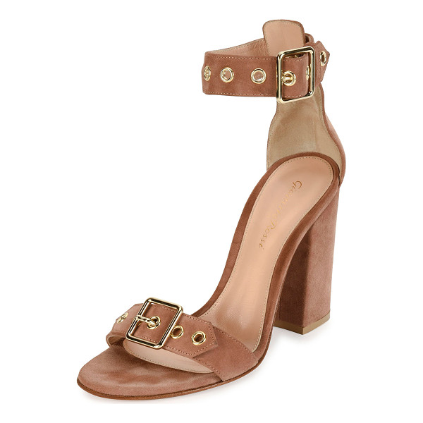 """GIANVITO ROSSI Hayes Suede Buckle 100mm Sandal - Gianvito Rossi suede sandal. 4"""" covered block heel. Buckle..."""