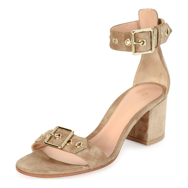 """GIANVITO ROSSI Hayes Suede Buckle 60mm Sandal - Gianvito Rossi suede sandal. 2.4"""" covered block heel...."""