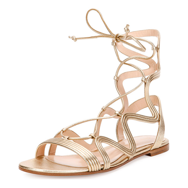 """GIANVITO ROSSI Hydra Wavy Leather Flat Lace-Up Sandal - Gianvito Rossi metallic napa leather sandal. 0.3"""" stacked"""