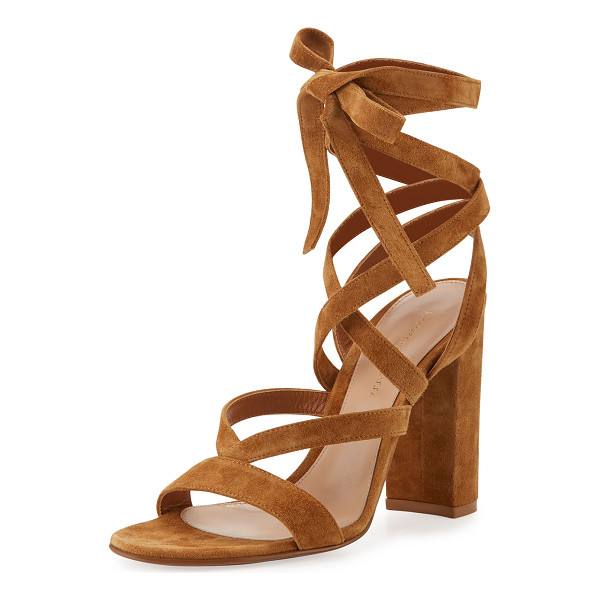 "GIANVITO ROSSI Janis High Suede Lace-Up 105mm Sandal - Gianvito Rossi suede sandal. 4.1"" covered block heel. Open..."