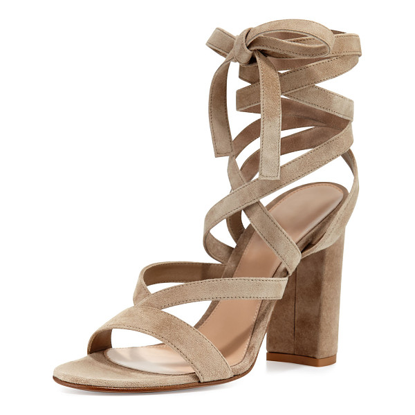 "GIANVITO ROSSI Janis High Suede Lace-Up 105mm Sandal - Gianvito Rossi suede sandal. 4.3"" covered block heel. Open"