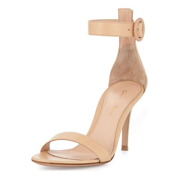 "GIANVITO ROSSI Leather ankle-strap simple sandal - Gianvito Rossi leather d'Orsay sandal. 3. 5"" covered heel...."