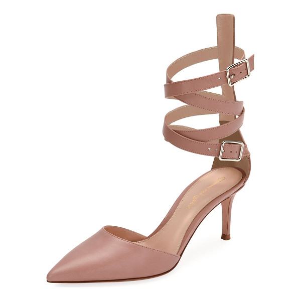 GIANVITO ROSSI Aleris d'Orsay 70 Leather Ankle-Wrap Pump - Gianvito Rossi vitello leather pump with high-cut backstay....