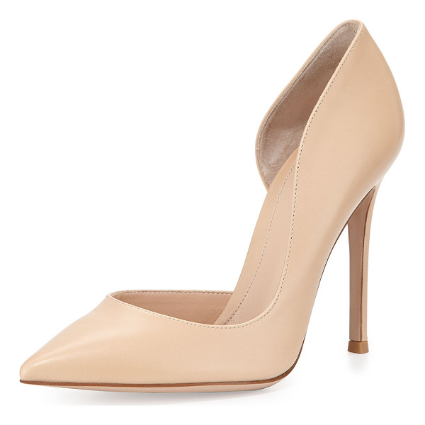 "GIANVITO ROSSI Leather open-side pump - Gianvito Rossi leather pump. 4"" covered stiletto heel...."