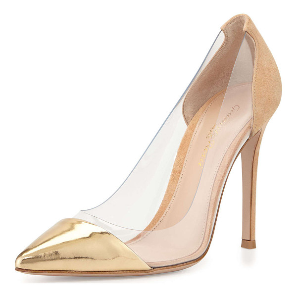 "GIANVITO ROSSI Metallic cap-toe illusion pump - Gianvito Rossi pump with clear PVC sides. 4. 3"" covered..."