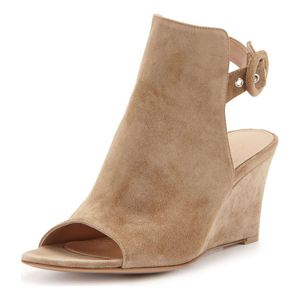 "GIANVITO ROSSI Open-toe slingback wedge bootie - Gianvito Rossi suede wedge bootie. 3"" covered wedge heel...."