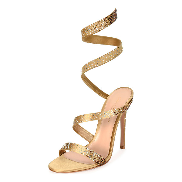 GIANVITO ROSSI Opera Ankle-Wrap 105mm Sandal - Gianvito Rossi crystal-embellished satin sandal. 4.1""